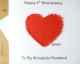 4th wedding anniversary card linen husband wife four years marriage - 4th anniversary card