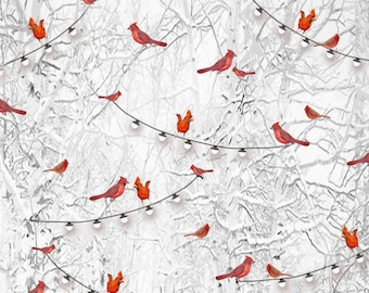 Cardinals On Branches Bird Fabric, Henry Glass Holiday Wishes 6926 90, Red Birds Christmas Quilt Fabric, Holiday Trees, Cotton