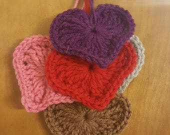 Heart Ornaments - Crochet Valentine Heart Decorations - Set of Six Crochet Heart Hangers