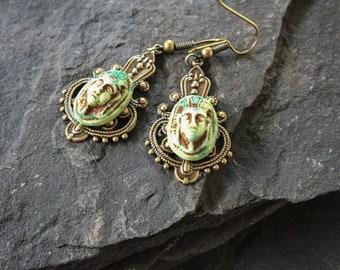 Pharaoh Earrings, Pharaoh Mask, Old World, Egyptian Earrings, Egyptian Jewelry, Egyptian, Roman Earrings, Roman Jewelry, Antiquity, Curios,