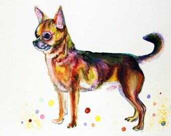 Chihuahua Watercolor Painting Chihuahua Art Print on canvas Watercolor Chihuahua Dog Art Print Colorful Chihuahua animal watercolor Dog