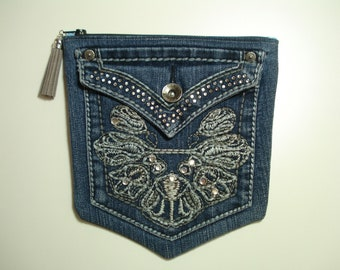DENIM Jeans POCKETS / Denim BLING Pouch / Blue Denim Purse / Two Pocket Zipper Pouch / Double Compartment Lined Purse / Upcycled Jeans