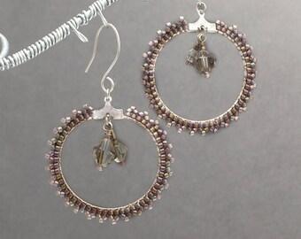 Beaded Hoop Earrings, Seed Bead Earrings, Bronze Earrings, Boho Earrings, Beaded Jewelry, Gift for Her