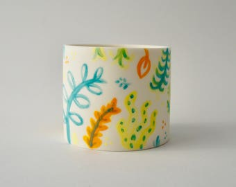 Wilderness - Illustrated by Bethany Thompson - Handmade porcelain/parian decorative planter
