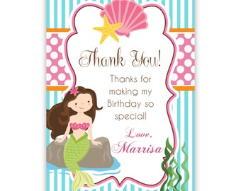 Mermaid Thank You Card - Turquoise Blue Stripe, Pink Polka Dot, Girl Mermaid Personalized Birthday Party Thank You - Digital Printable File