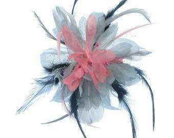 Grey pink and black fascinator comb, weddings, races, Ladies Day
