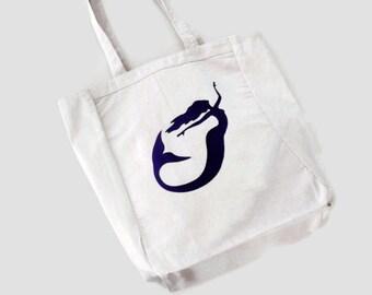 Mermaid Tote Bag, Girls Beach Bag, Purple Ballerina Mermaid Silhouette, Gift For Girls, Iron On Mermaid Applique Design, By DonnaLeeBags
