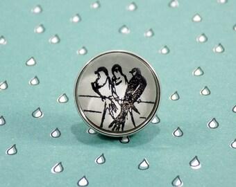 Snap Charm Button - Birds on a Wire - Meme Jewelry, Dank Memes, Vintage, Noosa, Ginger Snaps, Vintage Illustrations, Memes Antique