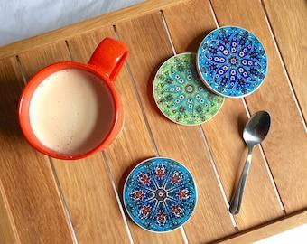 Set of 4 Ceramic Coasters - Blue/Green
