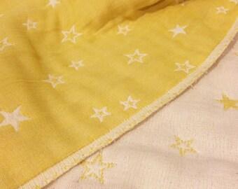 Throw blanket, star blanket, baby blanket, mustard yellow blanket, gauze blanket, muslin blanket, stroller blanket, baby gift