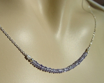 "Tanzanite beaded gemstone bar Necklace Sterling Silver Chain 14"" 16"" 18"" 20"""