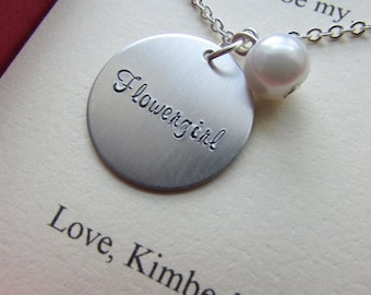SPRING SALE Ask Flowergirl, Bridal Party Gift, Handstamped charm necklace. Other Color Pearl Available. FREE Notecard Jewelry Box.