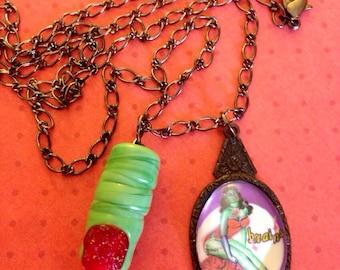 Zombie Pinup Pendant Necklace