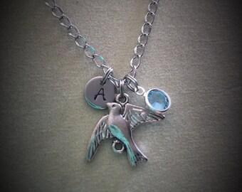 Personalized Swarovski Crystal birthstone sparrow necklace