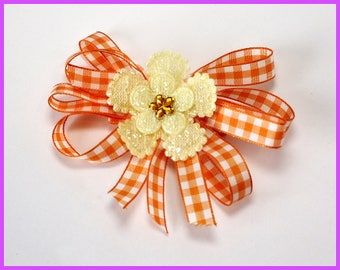 Orange and White Checkered Hair Clip with Yellow Flower