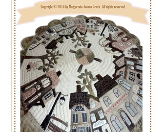 PDF Quilt pattern, Silent in the city, round table quilt, PDF pattern by MJJenekdesigns©
