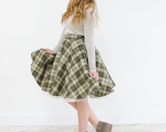 Foresty Green Plaid Flannel Circle Swing Skirt