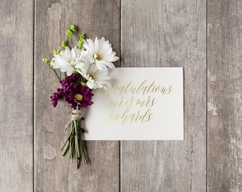 Custom Wedding Card | Personalized Names | Congratulations | Gold Foil Greeting Card | Hand Lettered Card | Personalized Wedding Card