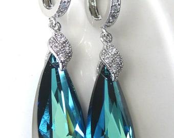 SET OF 8 - Bermuda Blue Bridal Earrings, Blue Crystal Wedding Earrings, Bridesmaids Earrings, Crystal Drop Wedding Earrings