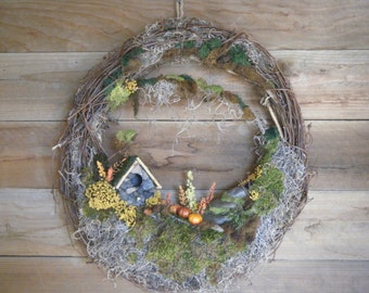 Autumn Fall Wreath. Birdhouse Wreath. Grapevine Wreath. Rustic Wreath. Woodland Wreath.