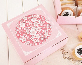 12*12*4.5cm10pcs pink sakura cherry Cheese Cake Paper Box Cookie Container gift Packaging Wedding Christmas Use