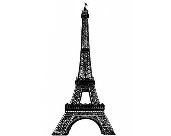 MAXI VINTAGE SHABBY CHIC EIFFEL TOWER PARIS RUBBER WOOD STAMP TRAVEL PEACE
