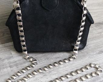 Black Suede Purse Evening Formal Vintage 80s Metal Shoulder Strap Ornate Details