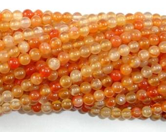 Carnelian Beads, Orange, 4mm (4.4mm) Round Beads, 15 Inch, Full strand, Approx 92 beads, Hole 0.8mm (182054016)