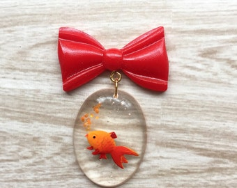 Red Bow pin Brooch with Fish Bowl - lucite 1940s inspired