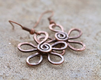 Copper Flower Earrings, Textured, Oxidized, Copper Wire, Wire Jewelry
