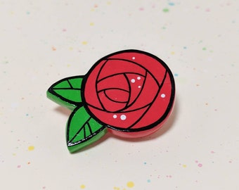 Red Rose Flower Pin - Handmade Miniature Clay Brooch Jewelry
