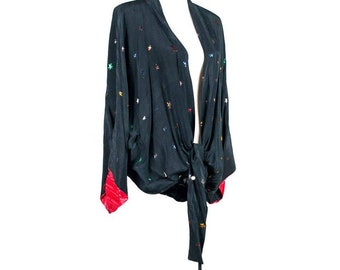 Vintage 1920s Silk Jacket With Sparkly Stars