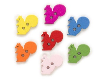 10 x Wooden Squirrel Buttons 20mm