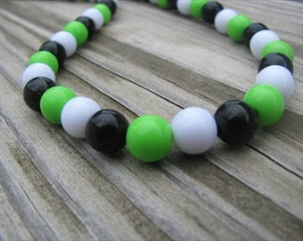Girls Necklace- Beaded Children's Jewelry- Green, Black, White