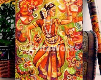 Indian classical dancer, ethnic painting, Bharatanatyam dance, Indian woman, home decor wall decor woman art, ACEO wood block, ABDH