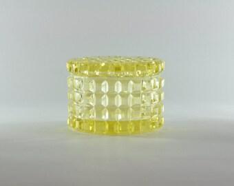 Vintage Glass Trinket Box, Yellow Glass, Yellow Box, Powder Box, Antique Trinket Box, Antique Powder Box, Vintage Powder Box, Vintage Box