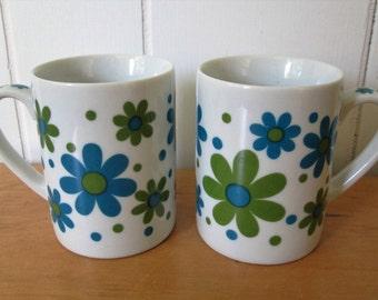 SALE vintage pedestal flower mugs