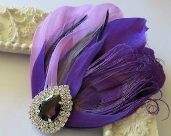 Bride Bridesmaid Feather Hair Accessory, Feather Fascinator, Bridal, Hair PIece,Grey, Lavender, Black, Purple, Feather, Hair Clip