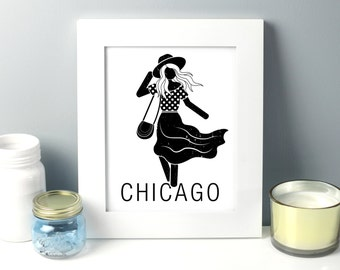 Chicago Art Printable, 8 x 10, Art Print Download, fashion illustration, Chicago Travel Print, art print girl, art print download, b x w