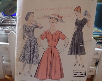 Vintage Butterick 1950's Dress Pattern Button Front Belted Size 22 1/2 Bust  43 #