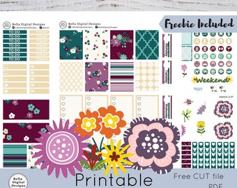 Berrylicious printable planner stickers. Erin Condren and Happy Planner weekly kit. Beautiful Fall colors. Fall flowers and leaves.