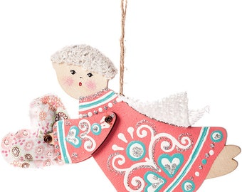 Little Angel that brings Love - Valentine Angel Heart Ornament - Coral
