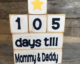 Days Till Mommy & Daddy Countdown Blocks-Customizable