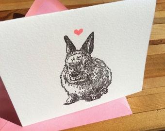 Letter Press Card - Rabbit Heart
