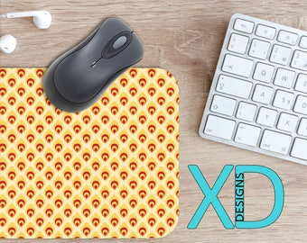 Retro Flame Mouse Pad, Retro Flame Mousepad, Fire Rectangle Mouse Pad, Yellow, Red, Fire Circle Mouse Pad, Retro Flame Mat, Computer, Hot