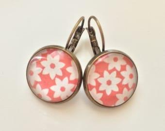 Hippie chic orange flowers earrings