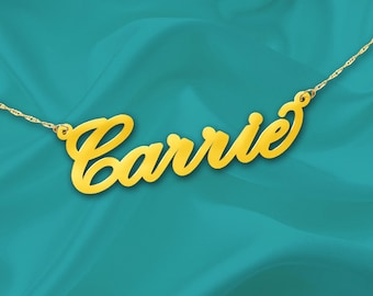Gold Name Necklace Carrie - 24K Gold Plated Sterling Silver - Personalized Name Necklace - Made in USA