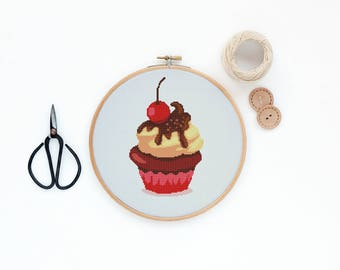 Chocolate and Cream Cupcake with cherry - Modern sweet food cross stitch pattern PDF - Instant download