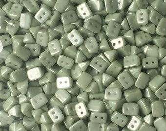 50 St. TRIOS Beads 6x4mm Two Hole Beads White Alabaster, Green Luster