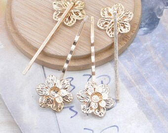 20 blanks hair pin, gold metal hair pin, jewelry bobby pin, filigree flower hair pin, two layer flower bobby pin, cabochon tray pins 55mm